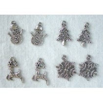 Metall - Charms 4x2 st. Winter