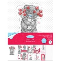 """Craft Kit til A4 Glitter kort fra mig til dig """"Med Love"""""""