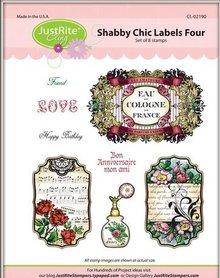 JUSTRITE AUS AMERIKA Justrite Shabby Chic etichetta Cling Stamp Set