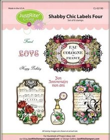 JUSTRITE AUS AMERIKA Justrite Shabby Chic label Cling Stamp Set