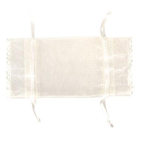 BASTELZUBEHÖR / CRAFT ACCESSORIES Organza bag, 14x8cm, SB-Btl 4Stück, ivory