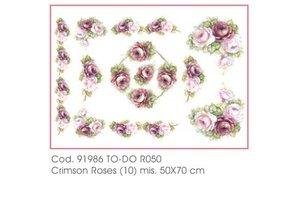 DECOUPAGE AND ACCESSOIRES Blødt papir 50x70cm - Crimson Roser