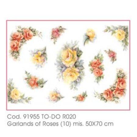 DECOUPAGE AND ACCESSOIRES 50x70cm papel Soft - guirnaldas de rosas