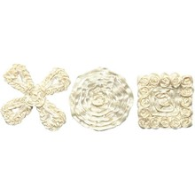 Embellishments / Verzierungen Sorted satin ornaments, size 35-40 mm, cream, 6