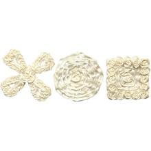 Embellishments / Verzierungen Sorterede satin smykker, størrelse 35-40 mm, creme, 6