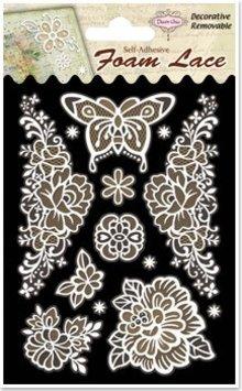 Embellishments / Verzierungen 3D-Spitzen Blumen & Schmetterlinge