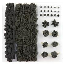Poms & Flowers - Embellishment,pom poms & flowers set schwarz