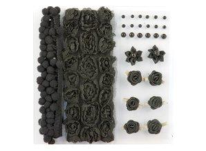 DEKOBAND / RIBBONS / RUBANS ... Poms & Blomster - Udsmykning, pom poms og blomster sæt sort