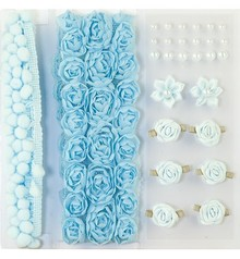 DEKOBAND / RIBBONS / RUBANS ... Poms & Flowers - Embellishment, pom poms and flowers set light blue