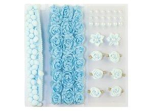 DEKOBAND / RIBBONS / RUBANS ... Poms y flores - Embellecimiento, pompones y flores establecen azul claro