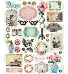 Vintage, Nostalgia und Shabby Shic Vintage, A4 chip board Tres Chic nr.1 with over 30 parts