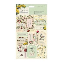 A5 udstanset ark med etiketter med roser og ordsprog