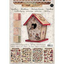 Bastelset 07: MDF and paper for a vintage birdhouse decoration, 17cm