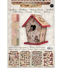 Objekten zum Dekorieren / objects for decorating Bastelset 07: MDF and paper for a vintage birdhouse decoration, 17cm