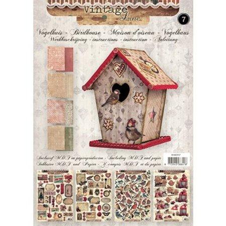 Objekten zum Dekorieren / objects for decorating Bastelset 07: MDF og papir til en vintage birdhouse dekoration, 17cm