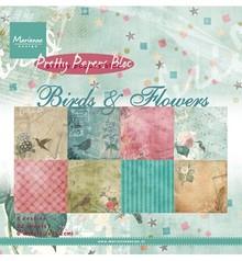 DESIGNER BLÖCKE  / DESIGNER PAPER Marianne Design, Smukke Papers - 15,2 x 15,2 cm - Fugle og blomster