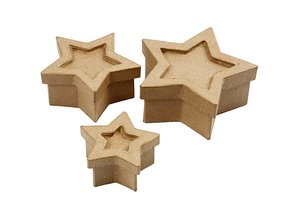 Objekten zum Dekorieren / objects for decorating 3 boxes in star shape, size 15x15x6 cm largest