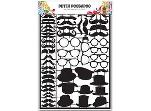 Dutch DooBaDoo Card type - Dutch Paper Art Black Mustaches