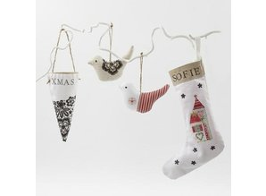 Objekten zum Dekorieren / objects for decorating Textile figures, H: 26 cm, Nikolaus Socks 2 pieces