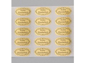Embellishments / Verzierungen 20 adhesive labels, Hand Crafted, 20 x 10 mm, gold
