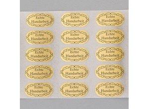 Embellishments / Verzierungen 20 Klebeetiketten, Echte Handarbeit, 20 x 10 mm, gold