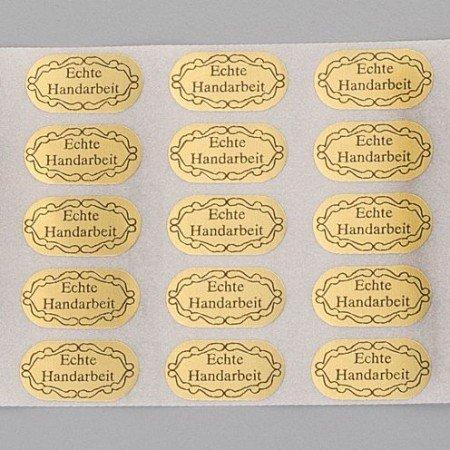 Embellishments / Verzierungen 20 selvklæbende etiketter, Håndlavet, 20 x 10 mm, guld