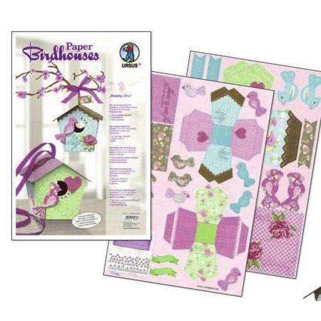 """Exlusiv Bird House Craft Kit materiales """"Shabby Chic"""" para 2 grandes y 8 pequeñas pajarera """"Papel Bird Houses"""""""