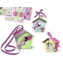 "Bird House Craft Kit Papel Birdhouses ""Shabby Chic"""