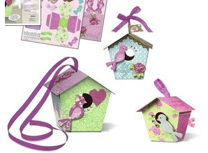 "Exlusiv Bird House Craft Kit ""Shabby Chic"" materials for 2 large and 8 small birdhouse ""Paper Bird Houses"""
