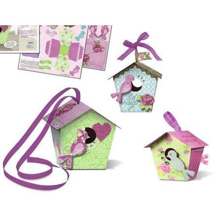 """Exlusiv Bird House Craft Kit """"lurvede chic"""" materialer til 2 store og 8 små fuglehus """"Papir Bird Houses"""""""