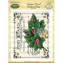 Justrite Christmas Post Card Background Cling Stamp