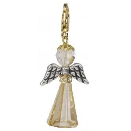 Exlusiv Kortsæt Crystal Guardian Angel, 3,2x2 cm, med karabinhage, gyldne skygge