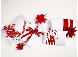DEKOBAND / RIBBONS / RUBANS ... Ribbon Collection, W: 10 mm, red / white-harmony, 12x1 m