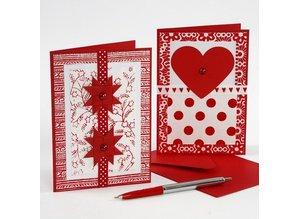 DEKOBAND / RIBBONS / RUBANS ... Collezione Ribbon, W: 10 mm, rosso / bianco-armonia, 12x1 m