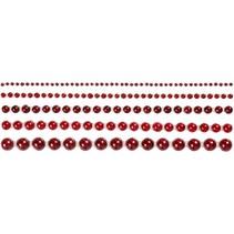 Halbperlen, Größe 2-8 mm, rot, 140 sortiert