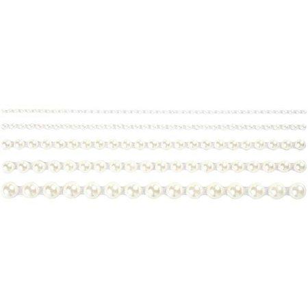 Embellishments / Verzierungen Halbperlen, Größe 2-8 mm, weiß, 140 sortiert