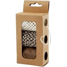 DEKOBAND / RIBBONS / RUBANS ... Paper string, beige / brown harmony, 3x10 m