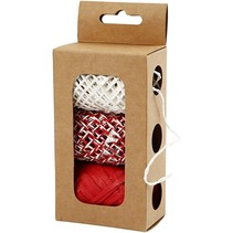 Paper string, beige / red-harmony, 3x10 m