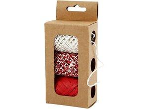 DEKOBAND / RIBBONS / RUBANS ... Paper string, beige / red-harmony, 3x10 m