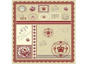 DESIGNER BLÖCKE  / DESIGNER PAPER Papel Pretty diseñador, impresa por ambos lados, 30.5x30.5 cm, 5 hojas, 120gr.