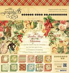 Graphic 45 Doce días de Navidad - bloc de papel, 20 x 20 cm