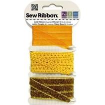 Dekoband assortiment geel-oranje-goud