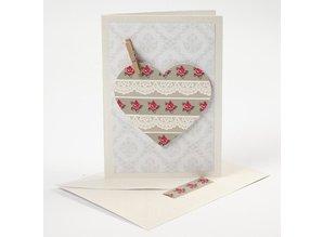 KARTEN und Zubehör / Cards 10 mother of pearl cards and envelopes, card size 10,5x15 cm, cream