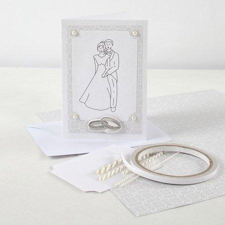 KARTEN und Zubehör / Cards 10 perlemor kort og kuverter, kort str 10,5x15 cm, creme