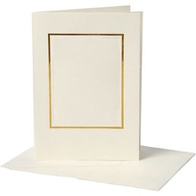KARTEN und Zubehör / Cards 10 Passepartout cards, card size 10,5x15 cm, off-white, rectangular cut with gold edge