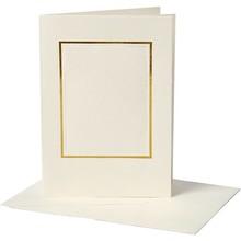 KARTEN und Zubehör / Cards 10 Passepartout kort, kort størrelse 10,5x15 cm, off-white, rektangulær cut med guldkant