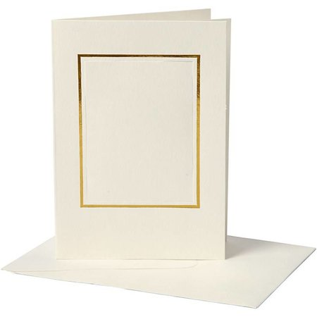 KARTEN und Zubehör / Cards 10 Passepartoutkarten , Kartengröße 10,5x15 cm, off-white, rechteckiger Ausschnitt mit Goldkante