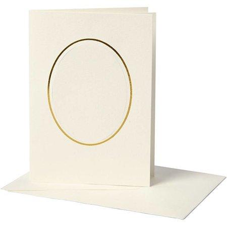 KARTEN und Zubehör / Cards 10 Passepartoutkarte, Kartengröße 10,5x15 cm, off-white, ovaler Ausschnitt mit Goldkante