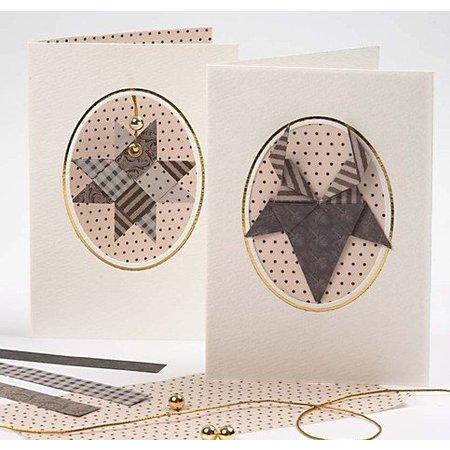 KARTEN und Zubehör / Cards 10 Passepartout kort, kort str 10,5x15 cm, off-white, bateau halsudskæring med guldkant