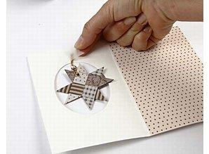 KARTEN und Zubehör / Cards 10 carta Passepartout, formato carta 10,5x15 cm, bianco sporco, bateau scollatura con bordo in oro